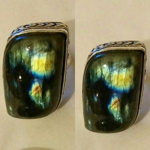 Glowing Labradorite Handmade Vintage Ring Boho